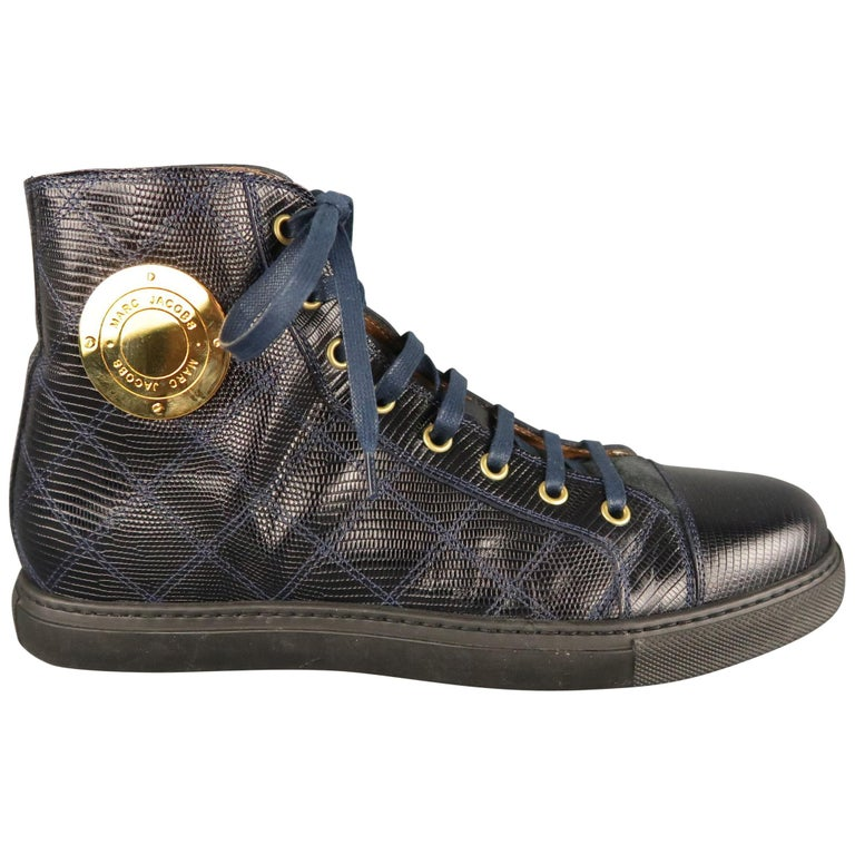 24729c1fc2c3 Men s MARC JACOBS Size 7 Navy Embossed Leather High Top Sneakers For Sale