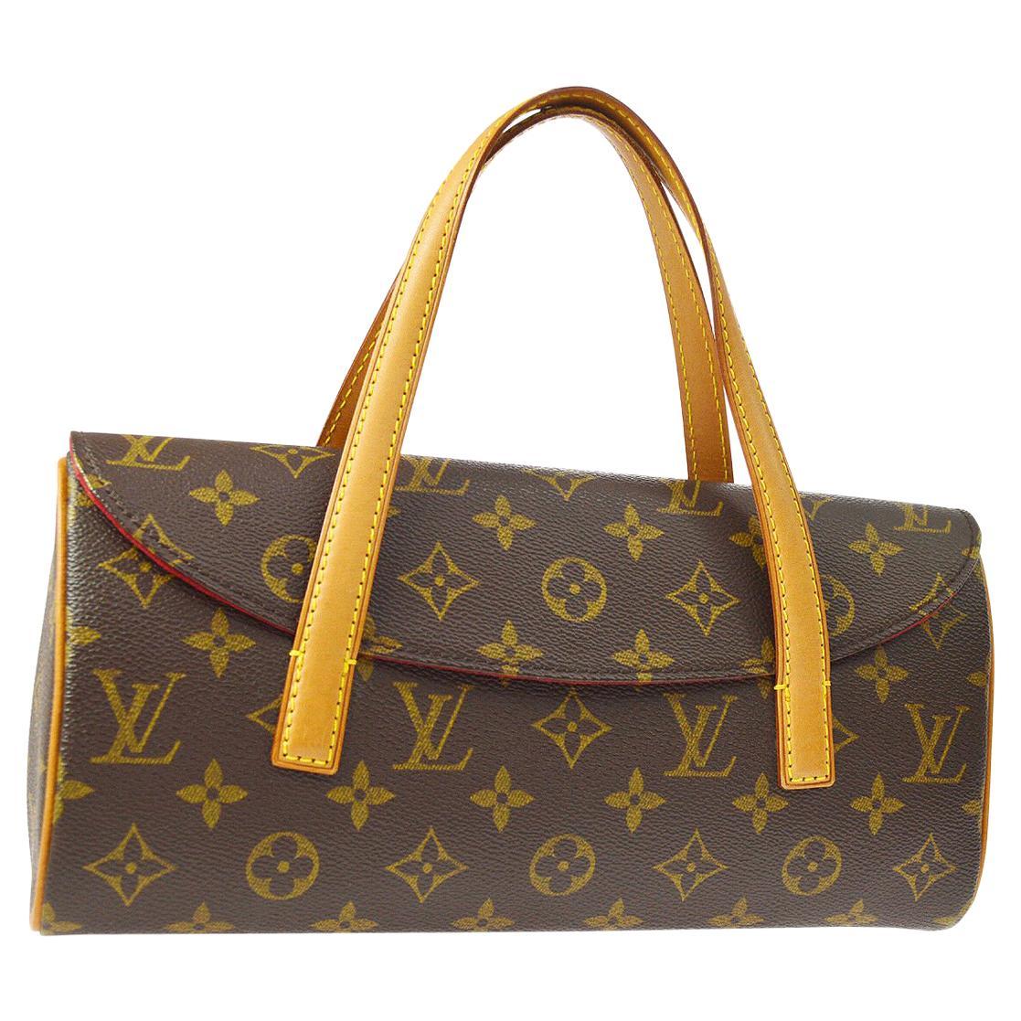 Louis Vuitton Monogram Brown Top Handle Satchel Kelly Style Evening Flap Bag