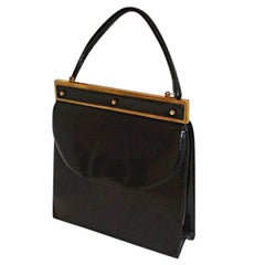 Schiaparelli Black Calf Handbag Purse