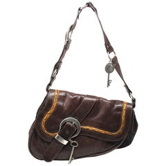 Christian Dior Gaucho Brown Leather Saddle Crossbody Bag, SS 2006