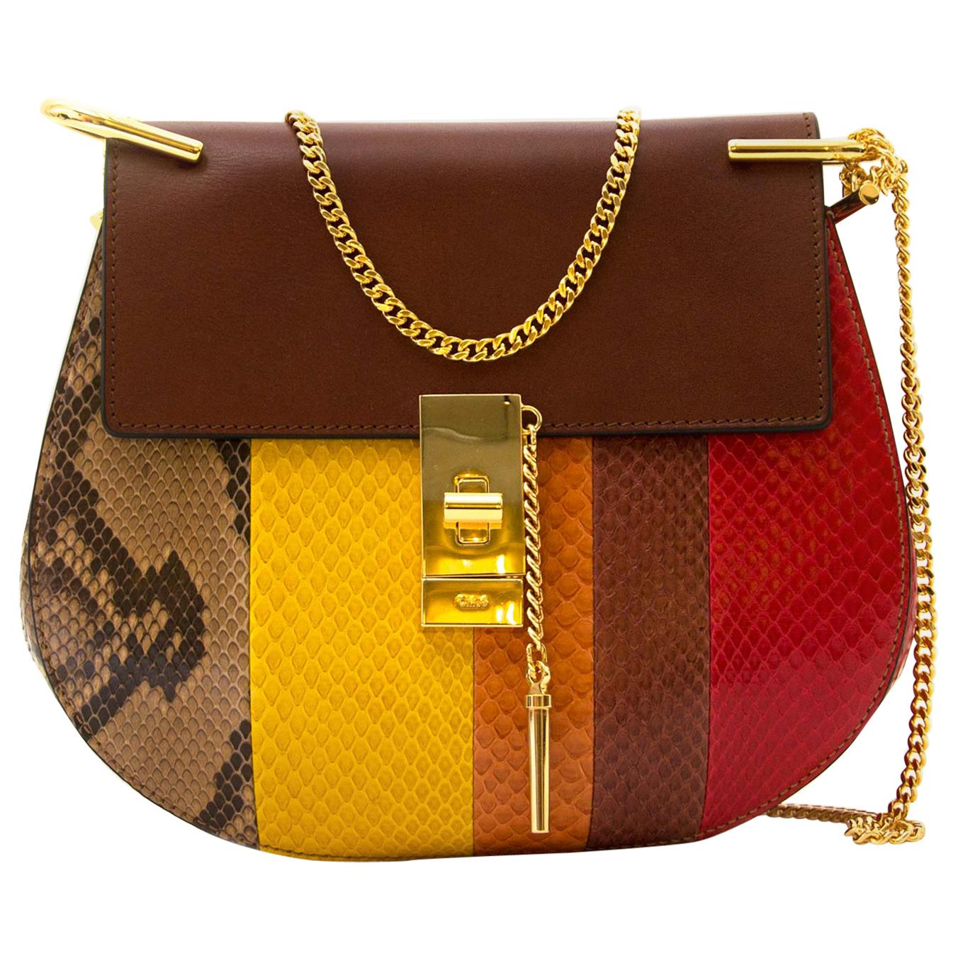Chloé Drew Multicolor Python Crossbody Bag