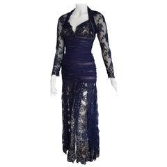 Isabelle ALLARD Paris sleeves skirt lace blue silk cotton dress - Unworn, New