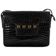 Delvaux Black Croco D Cross Body Bag