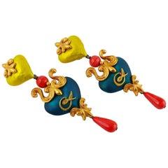 Christian Lacroix Vintage Long Baroque Enamel Heart Dangling Earrings