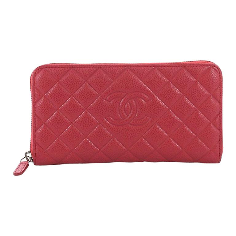 745e5a0b1810 Chanel Diamond CC Zip Wallet Quilted Caviar Long For Sale