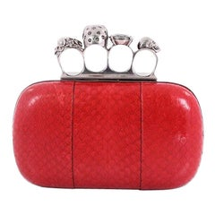 Alexander McQueen Knuckle Box Clutch Python Small