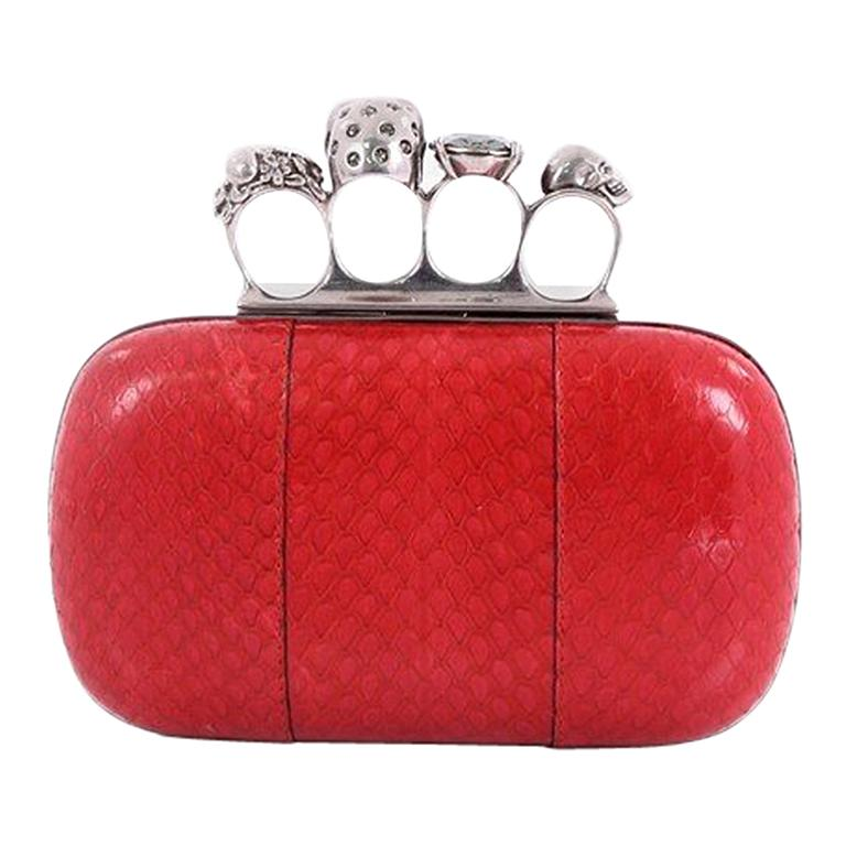 Alexander McQueen Knuckle Box Clutch Python Small For Sale