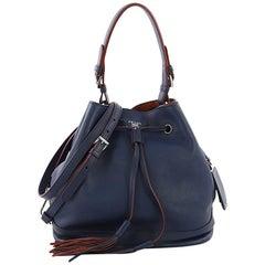 Prada Convertible Drawstring Bucket Bag Leather Large