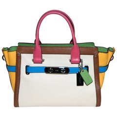 Coach Swagger Rainbow Leather Colorblock Satchel