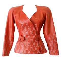 Jean Claude Jitrois 1980s Diamond Pattern Leather Wrap Jacket
