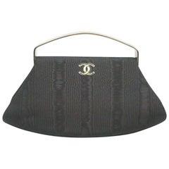 Chanel Black Fabric w/ Silver Metal Handles Clutch