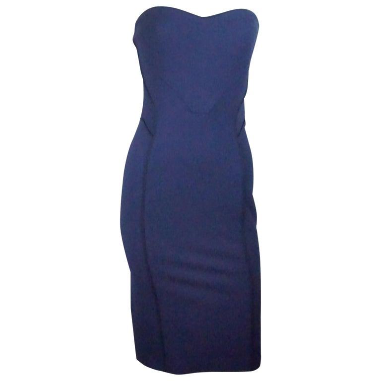 320af082cd Zac Posen Navy Strapless Bodycon Dress w  Navy Lining - 4 - NWT For Sale