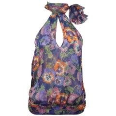 Moschino Floral Print Silk Halter Top w/ High Neck - 6