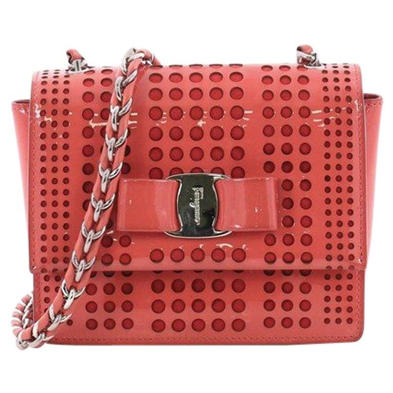 e832f18eab Salvatore Ferragamo Ginny Crossbody Bag Laser Cut Patent Mini For Sale