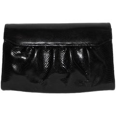 Gucci Black Embossed Leather Envelope Accordion Clutch Bag