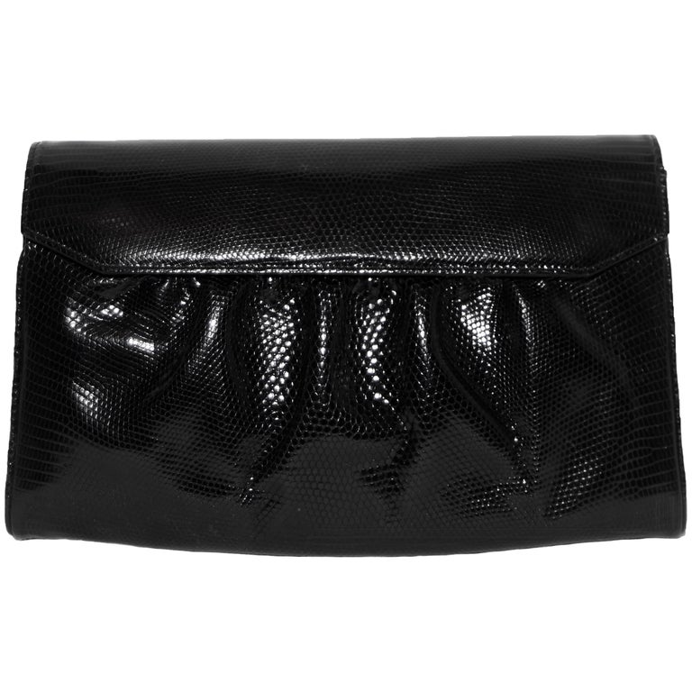 4c86c4633b82 Gucci Black Embossed Leather Envelope Accordion Clutch Bag For Sale ...