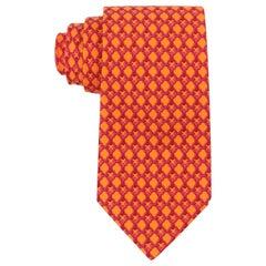 HERMES Orange & Fuchsia Pink Chain Link Print 5 Fold Silk Necktie Tie 59 EA