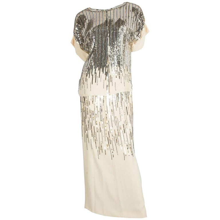 Chanel Beige Silk and Sequins Skirt Set For Sale