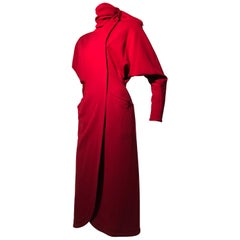 1980s Gianni Versace Vivid Red Wool Wrap-Style Coat Dress W/ Attached Foulard
