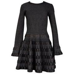 Alaia Black & Beige Fit & Flare Dress Sz 40