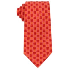 HERMES Coral Pink Abstract Check Print 5 Fold Silk Necktie Tie 7802 FA