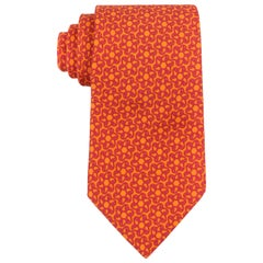 HERMES Orange & Fuchsia Pink Paisley Floral 5 Fold Silk Necktie Tie 5367 OA