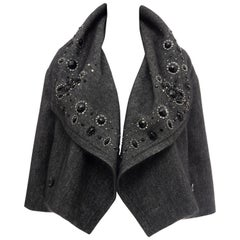 Christian Dior Grey Embroidered Shawl Collar Evening Jacket, Circa: 1990's