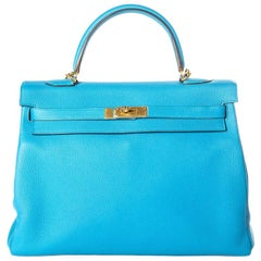 Hermes 35 cm Blue Izmir Kelly Bag Clemence leather