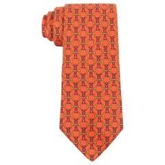 HERMES Cadmium Orange Horsebit Belt Equestrian 5 Fold Silk Necktie Tie 627 TA