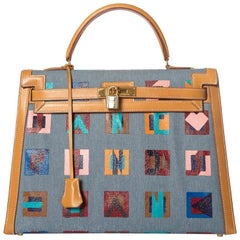 Hermes Tan Leather and Painted Denim Kelly 35cm