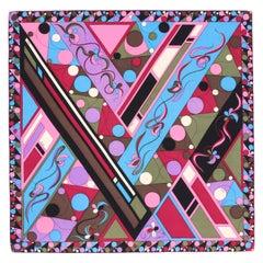EMILIO PUCCI c.1960's Geometric Floral Signature Print Silk Scarf