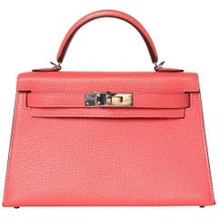 Hermes Rose Lipstick Chevre Leather Mini Kelly Sellier II 20