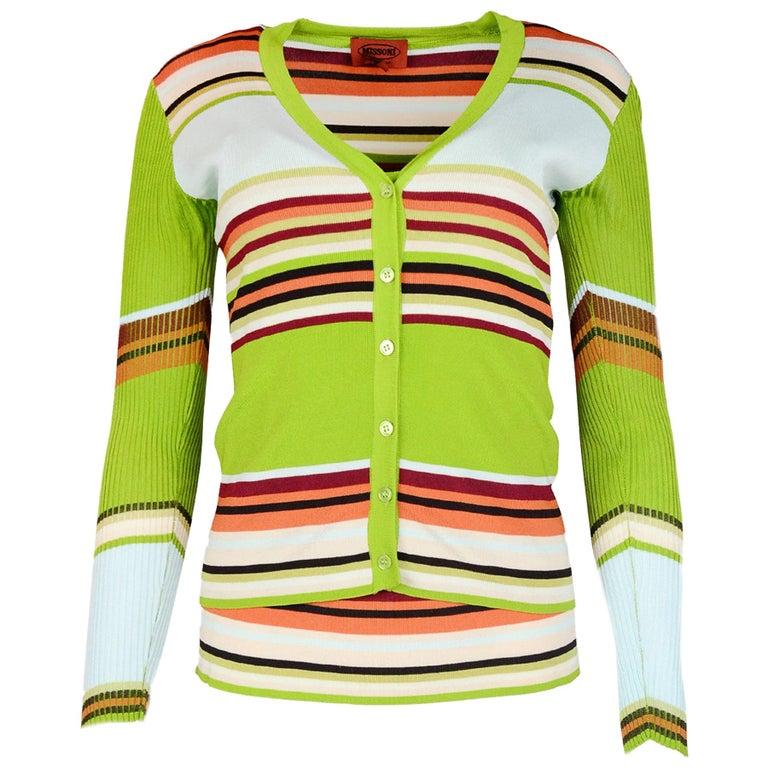 e9515e5d24e Missoni Green Multi-color Stripe Tank   Cardigan Sweater Set Sz 42 For Sale