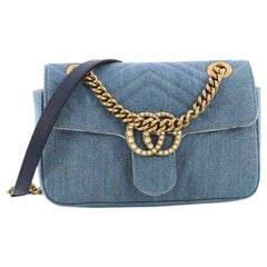 Gucci Pearly GG Marmont Flap Bag Matelasse Denim Mini