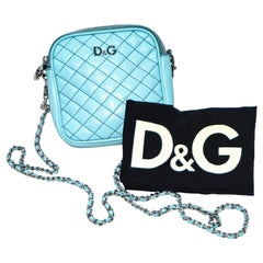 D & G Turquoise Lily Glam Quilted Cross Body Bag