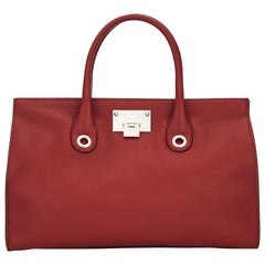 New Jimmy Choo *Riley* Red Grainy Calf Leather Tote Cross-body Large Bag