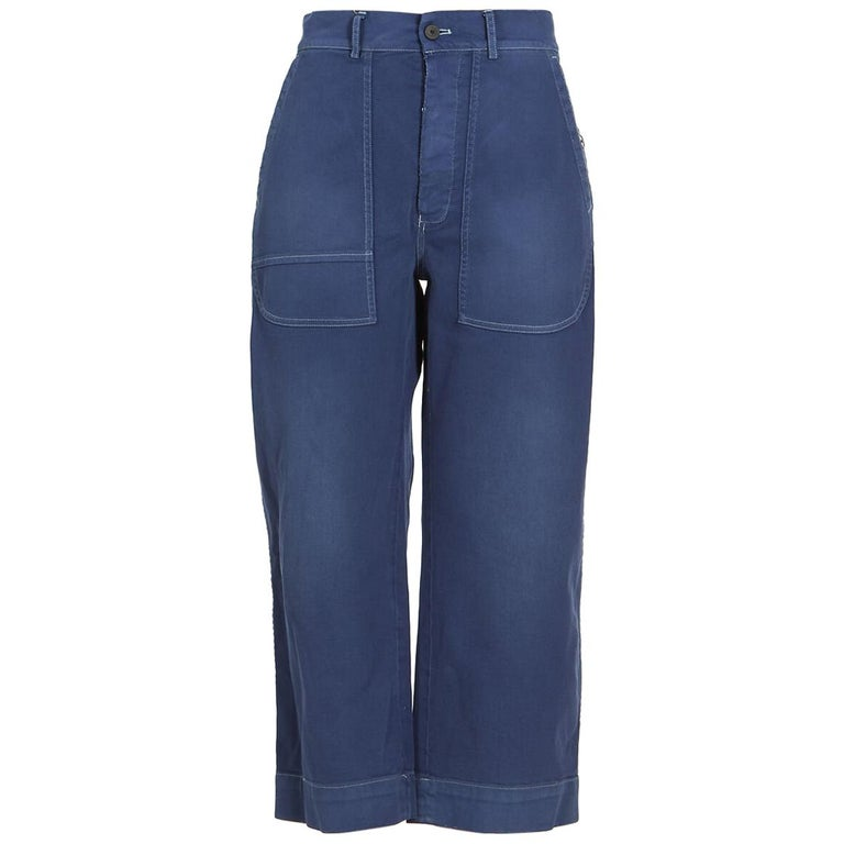 Dior Women s Blue Cropped Wide Leg Denim Jeans For Sale at 1stdibs a6a21291dd