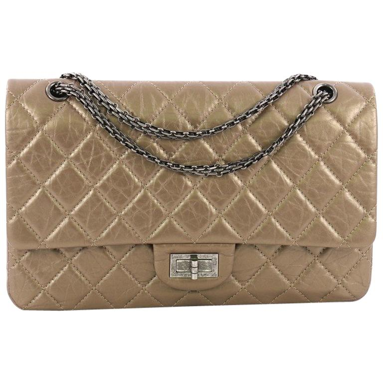 086c079aa3ceb8 Chanel Reissue 2.55 Handbag Quilted Metallic Aged Calfskin 227 For Sale