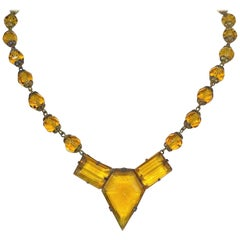 Art Deco Czechoslovakian Topaz-Yellow Faceted Glass Necklace, Circa 1920s