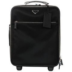 "Prada Black Nylon/Saffiano Leather 40cm/16"" Carry-On Bag Rolling Luggage"