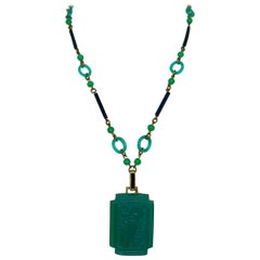 Art Deco Green & Black Glass Necklace With Bird Motif Pendant, Circa 1920s
