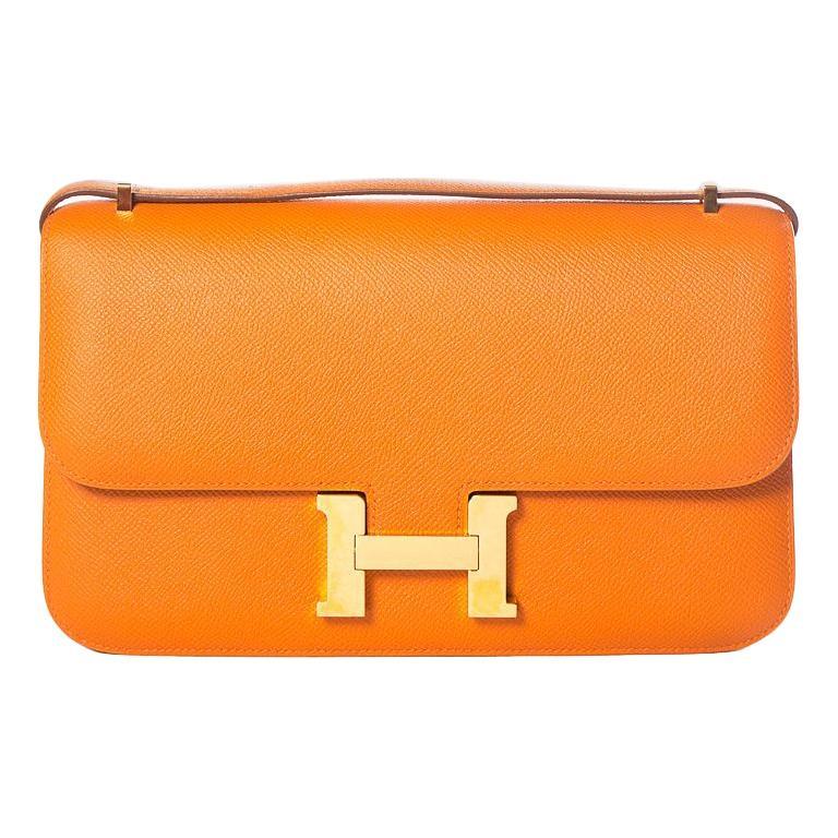 HERMÈS  Orange Epsom Constance Bag For Sale