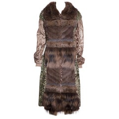 LANVIN  Brown & Multicolor Patchwork Fur Coat