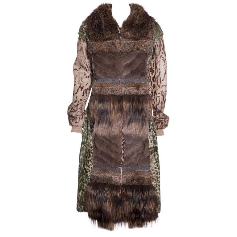 LANVIN  Brown & Multicolor Patchwork Fur Coat For Sale