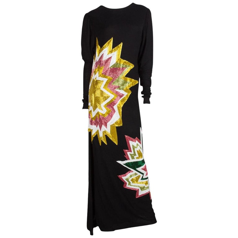 TOM FORD  Black Knit & Multi Color Beaded Starburst Maxi 2013 Collection For Sale