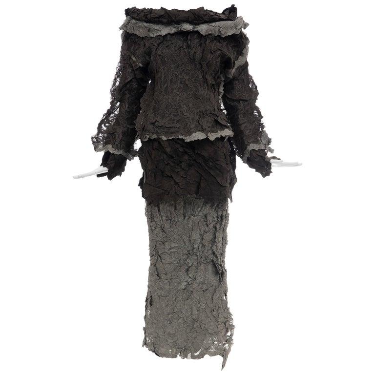 Issey Miyake Runway Chocolate Brown & Gunmetal Silver Skirt Suit, Fall 1999 For Sale