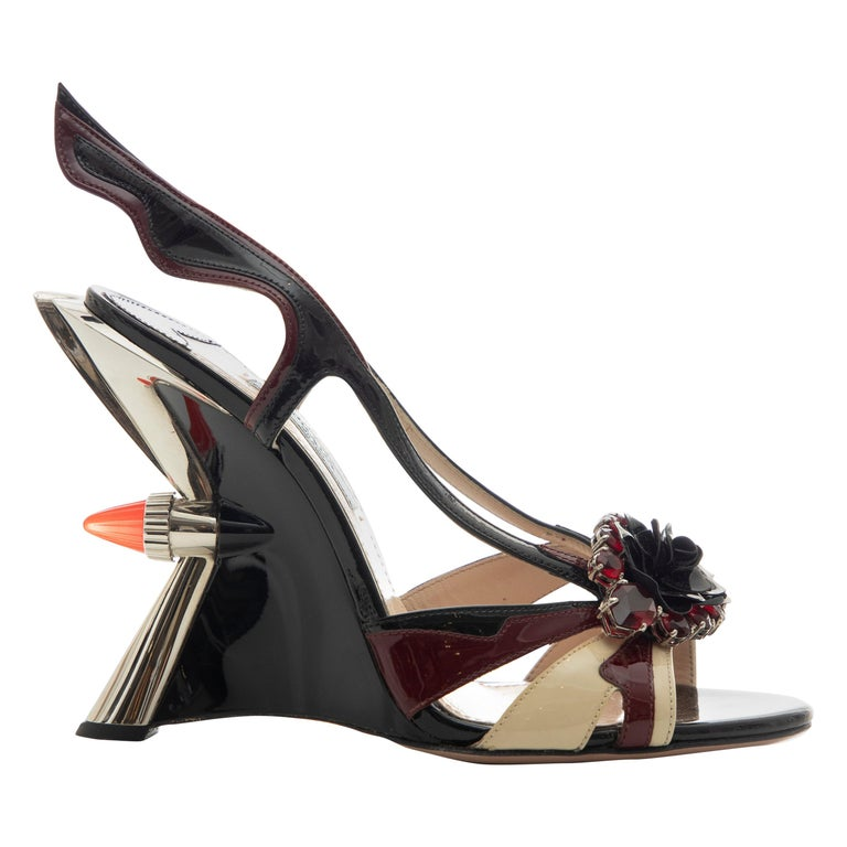 Prada Runway Jewel Taillight Wedge Sandal, Spring 2012 For Sale