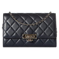 CHANEL  Navy Quilted Golden Class Double CC Wallet