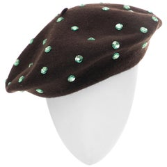 Dolce & Gabbana Wool Chocolate Brown Turquoise Cut Crystals Beret, Fall 2000