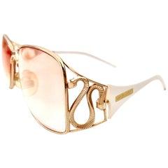 9b6121602e7 20th Century Roberto Cavalli White   22K Gold Plate Logo Snake Eye Glasses